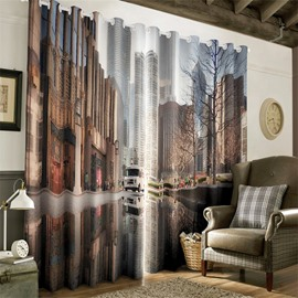 3D City Street Scenery Printed 2 Panels Decorative Custom Curtain for Living Room