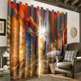 3D Peaceful Street and Soft Light Night Scenery Printed Custom Curtain for Living Room