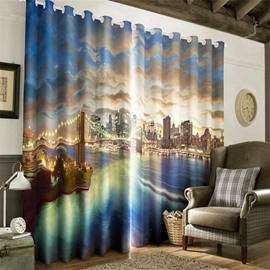 3D Grandiose Bridge and Waving Sea Printed Night Scenery Custom Living Room Curtain