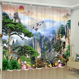 3D Steep Mountains and Green Pine Trees Printed Decorative Custom Living Room Curtain