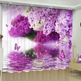 3D Pink Flowers and Butterflies Printed 2 Panels Custom Living Room Curtain