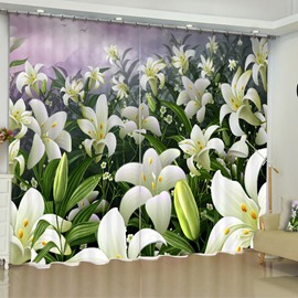3D Elegant Beige Flowers Printed Fresh and Pastoral Style Custom Living Room Curtain