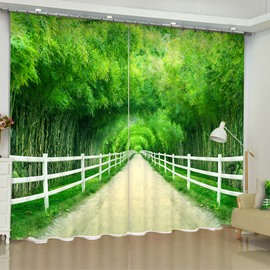 3D Lush Bamboo Forest and Limpid River PrintedCustom 2 Panels Decorative Curtain