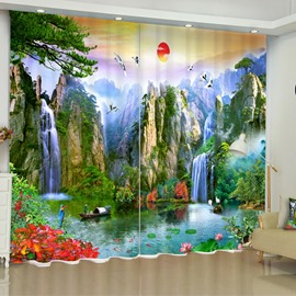 3D Steep Mountains and Rive Printed Natural Beauty Custom Living Room Curtain