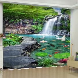 3D Slate Road and Running Waterfalls with Green Trees Printed 2 Panels Custom Curtain