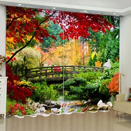 3D Wooden Bridge and Red Yellow Leaves Printed 2 Panels Living Room Curtain