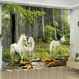 3D White and Strong Unicorns in Forest Printed Custom Living Room Curtain