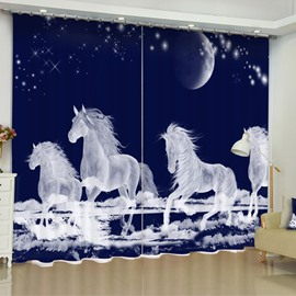 3D White Running Unicorns Printed Polyester Cotton Custom Living Room Curtain