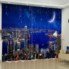 3D Modern City Night Scenery with Blue Sky Printed Custom Living Room Curtain