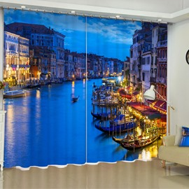 3D Coastal City Night Scenery Printed Modern Style Custom Living Room Curtain