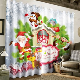 3D Cartoon Santa Claus and White Snowman Printed 2 Panels Custom Living Room Curtain