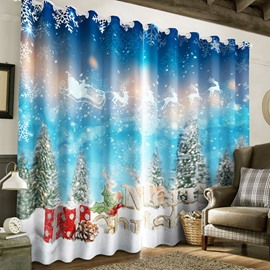 blue living room curtains. 57 3D Snow Pine Trees and Bright Stars with White Printed 2 Panels  Decorative Curtain Beautiful Living Room Curtains Blackout Online