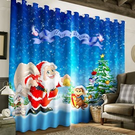 Santa Claus and Lovely Animals Printed 2 Panels Custom 3D Curtain for Living Room