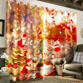 3D Kindly Santa Claus and Christmas Feast Printed Polyester Custom Living Room Curtain