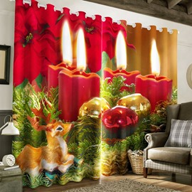 3D Lighting Candles and Lovely Squirrel Printed 2 Panels Living Room Curtain