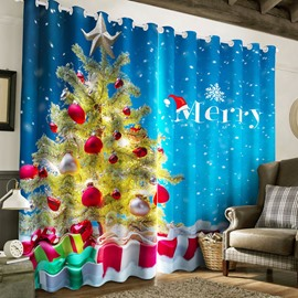 3D Wonderful Christmas Tree Printed Happy New Year Decorative Curtain