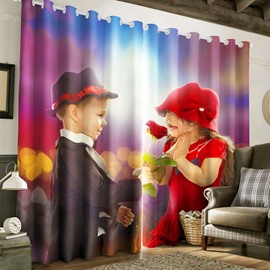 3D Lovely Boy and Girl Printed 2 Panels Decorative and Blackout Custom Curtain