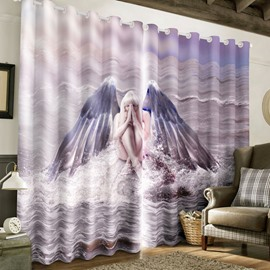 3D Charming Angel with Wings Printed Polyester 2 Panels Custom Window Drape