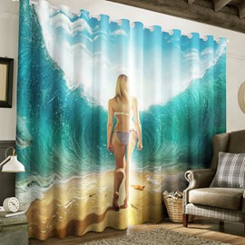 3D Surging Waves and Pretty Lady Printed 2 Panels Decorative Custom Curtain