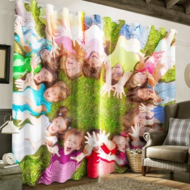 3D Lovely Children Printed 2 Panels Living Room and Bedroom Custom Curtain