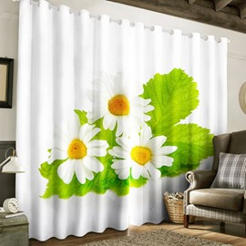 Vivid and Fresh White Chrysanthemums Printed Pastoral Style Custom Living Room Curtain