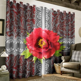 3D Retro Style Red Rose Printed Thick Polyester 2 Panels Blackout Custom Curtain