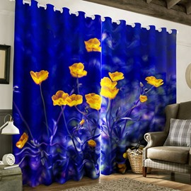 Creative and Beautiful Yellow Flowers Dark Blue Printed Polyester Custom 3D Curtain