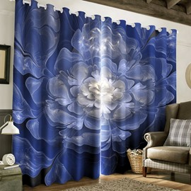 3D Creative Blue with White Flowers Printed Polyester 2 Panels Living Room Curtain
