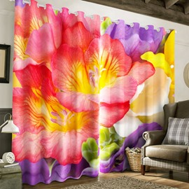 Gorgeous Pink and Red Peonies Printed 2 Panels Blackout Curtain for Living Room