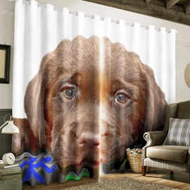 3D Brown Dog Printed Custom Blackout Curtain for Living Room and Bedroom