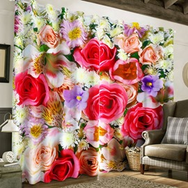 3D Colorful Roses Printed Romantic Style 2 Panels Grommet Top for Living Room