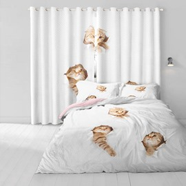 3D Cute Cats Detecting Hand Printed Polyester 2 Panels Decorative and Blackout Living Room Curtain