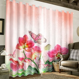 3D Pink Flowers and Butterflies Printed Custom Living Room Window Drape