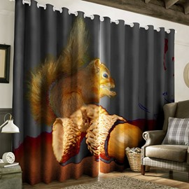 3D Lovely Squirrel with Pine NutsPrinted Polyester Custom Grommet Top Curtain for Living Room