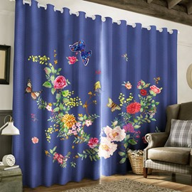 3D Beautiful Flowers Printed 2 Panels Custom Living Room Window Drape