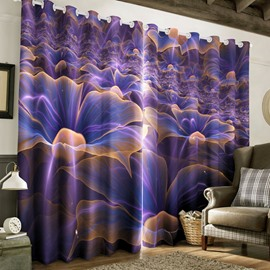 Dreamy Purple Flowers Printed 2 Panels Custom Polyester Living Room 3D Curtain