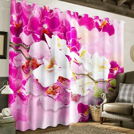 3D Pink and Beige Flowers Printed 2 Panels Grommet Top Curtain for Living Room