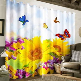 Fresh and Vivid Sunflowers and Colorful Butterflies Printed Living Room 3D Curtain