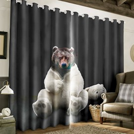 3D Black Fierce Bear Printed Custom Polyester Grommet Top Curtain for Living Room