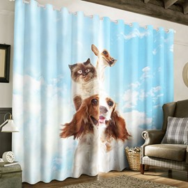 3D Lovely Cat Riding on Dog Back Printed Polyester 2 Panels Custom Living Room Curtain