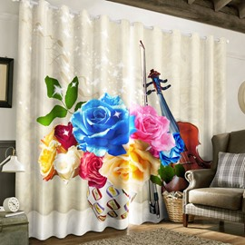 3D Colorful Roses Printed 2 Panels Custom Grommet Top Curtain for Living Room