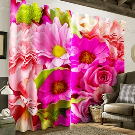 3D Vivid Pink Flowers Printed 2 Panels Grommet Top Curtain for Living Room