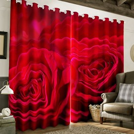 3D Fresh Red Rose Printed Polyester Custom Grommet Top Curtain for Living Room