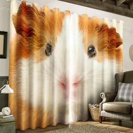 3D Cute Hamster Printed Polyester Custom Curtain for Living Room