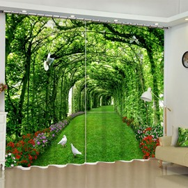 3D Vigorous Green Trees Corridor and White Doves Printed 2 Panels Window Drape