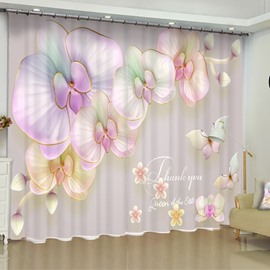 Fresh and Romantic Pink Blooming Flowers Printed 2 Panels Living Room Curtain