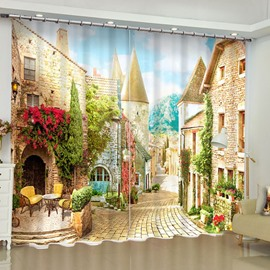 3D European Style Buildings Printed Polyester Custom Living Room Curtain