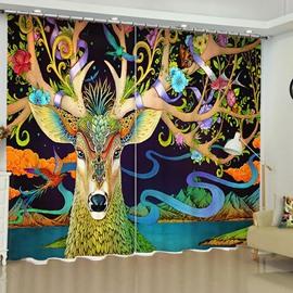 3D Rich Deer Printed 2 Panels Blackout Grommet Top Living Room Curtain