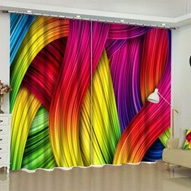 Wonderful and Creative Bright Colored Smooth Lines Printed Custom Window Drapes