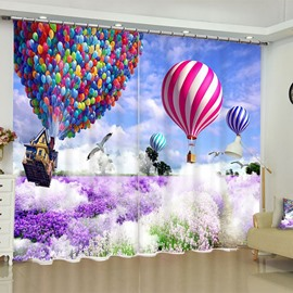 3D Romantic Purple Lavenders and Colorful Balloons Printed 2 Panels Custom Window Curtain